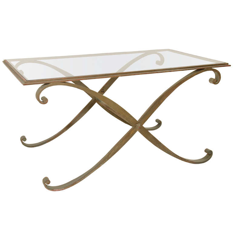 Maison ramsay gilt iron x form scroll coffee table with for Table th scroll