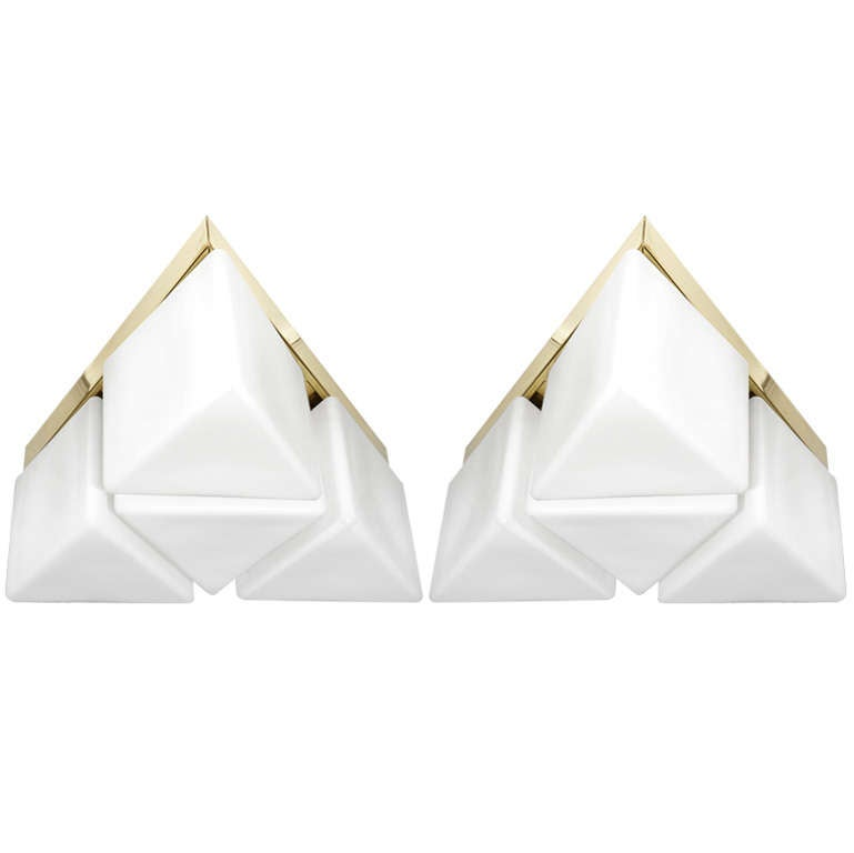 Triangular Brass Flush Mount Fixture with Frosted Glass Shades by Stilnovo