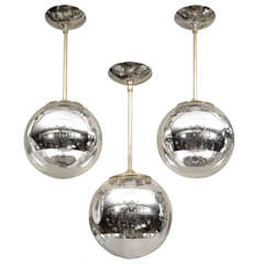 Nickel Pendant Fixture With Spherical Shade And Mercury Stripe Detail