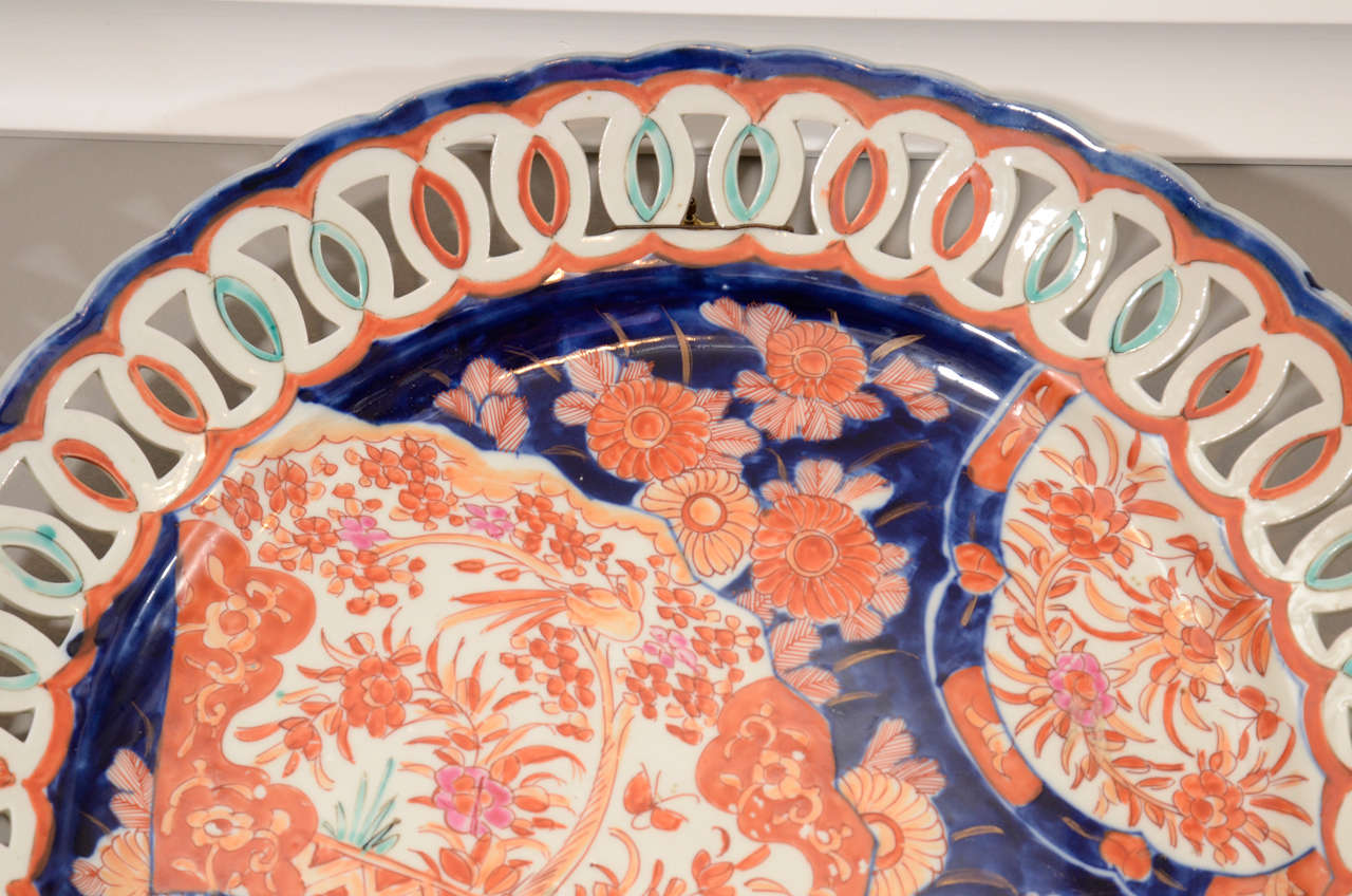 Pair of 19th Century Japanese Porcelain Imari Chargers For Sale 1