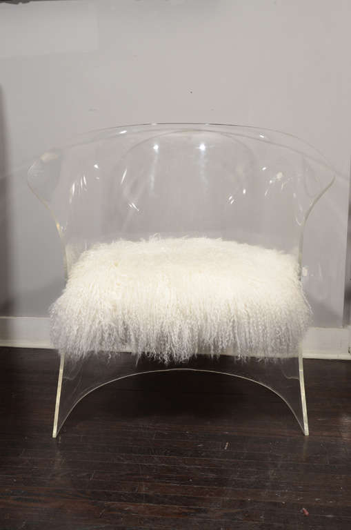 1970's Lucite Chair Upholstered in Mongolian Lamb 2