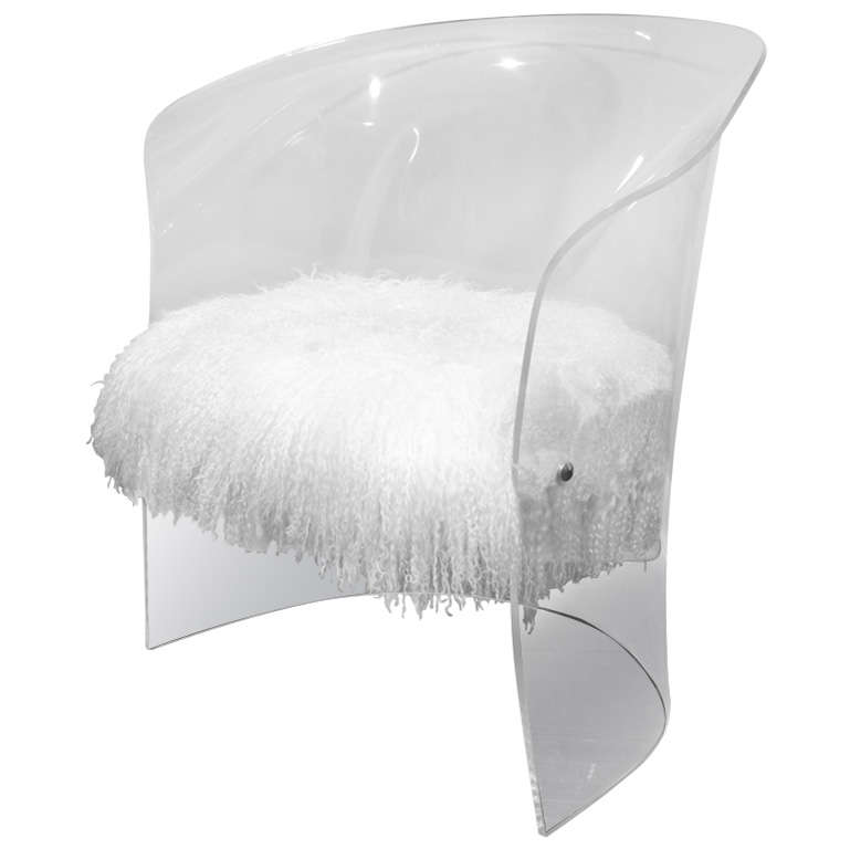 1970's Lucite Chair Upholstered in Mongolian Lamb 1