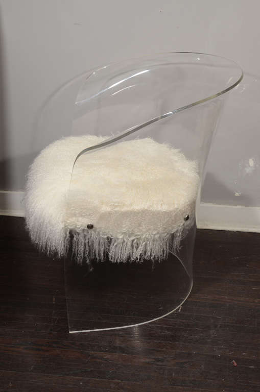 1970's Lucite Chair Upholstered in Mongolian Lamb 6