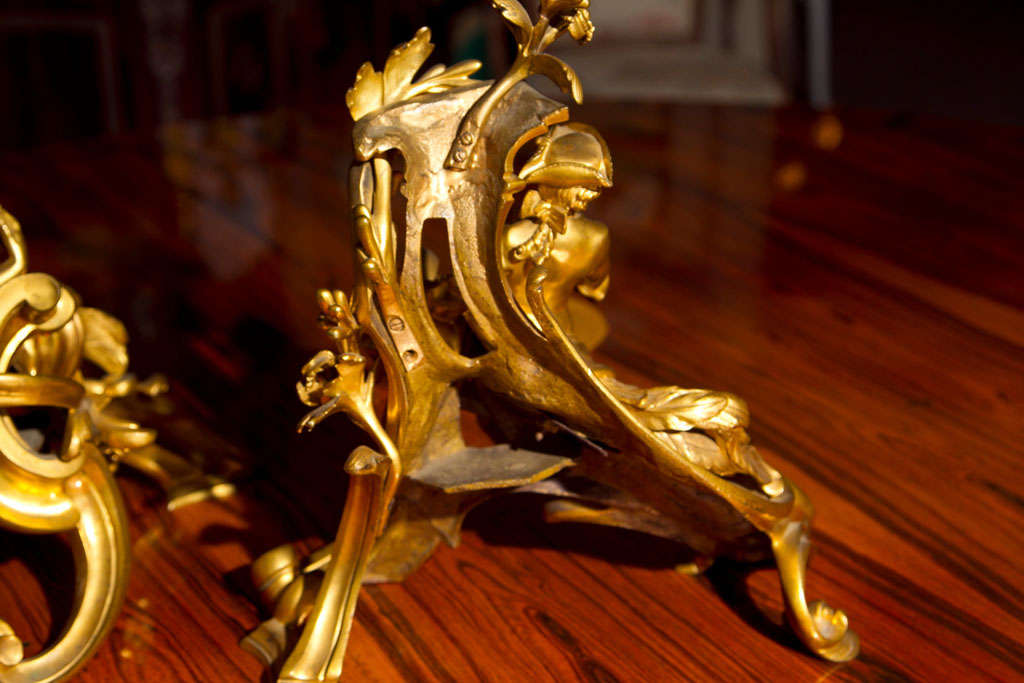 Mid-18th Century Pair of Ormolu Bronze Louis XV Chenets For Sale