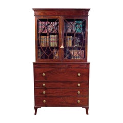 English Mahogany Glazed Secrétaire Bookcase