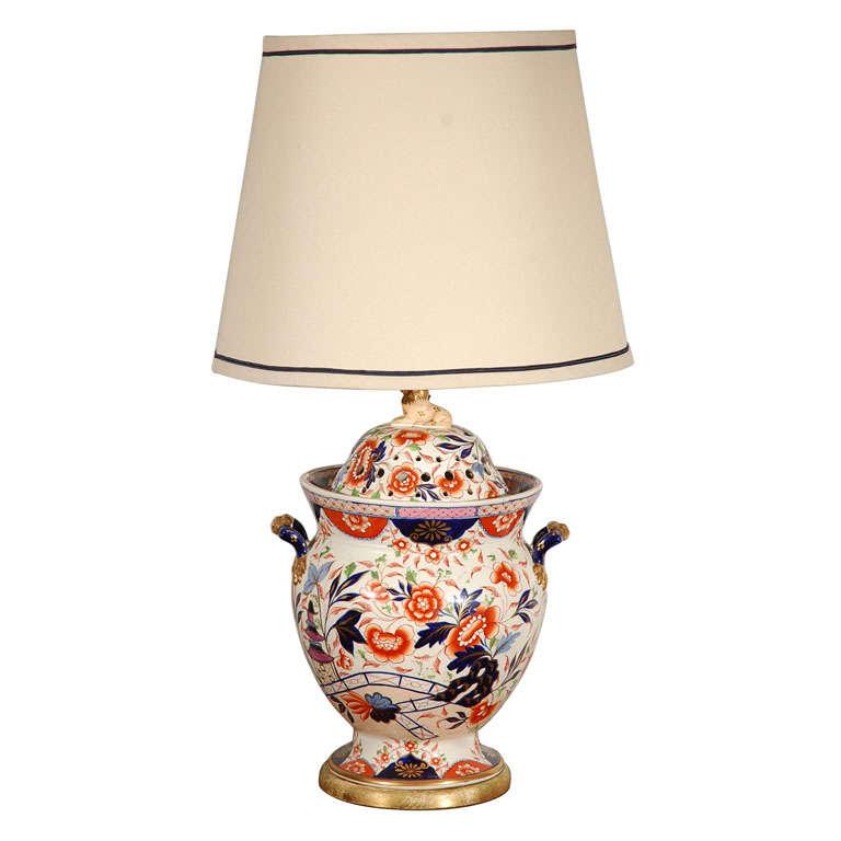 Antique English Imari Vessel as a Table Lamp