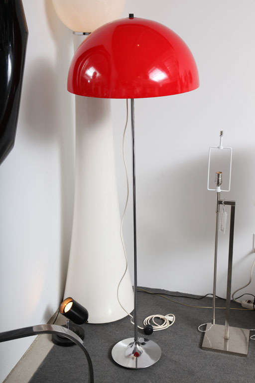 Red Bases For Living Room Decor: Danish Red Floor Lamp With Chrome Base For Sale At 1stdibs