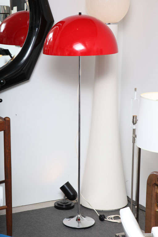 Danish Red Floor Lamp With Chrome Base For Sale At 1stdibs