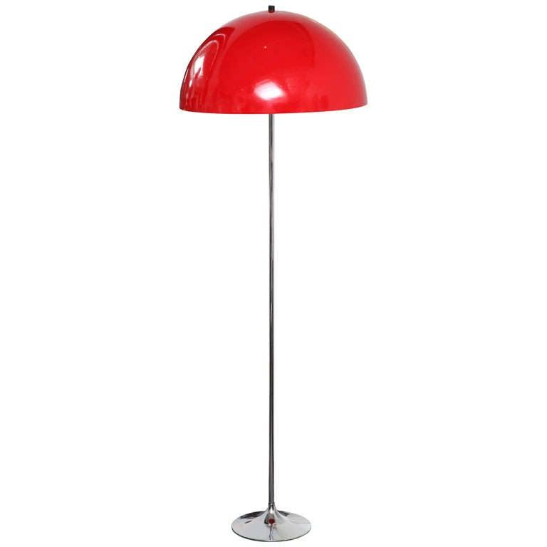 Danish red floor lamp with chrome base at 1stdibs for Lexington floor lamp chrome