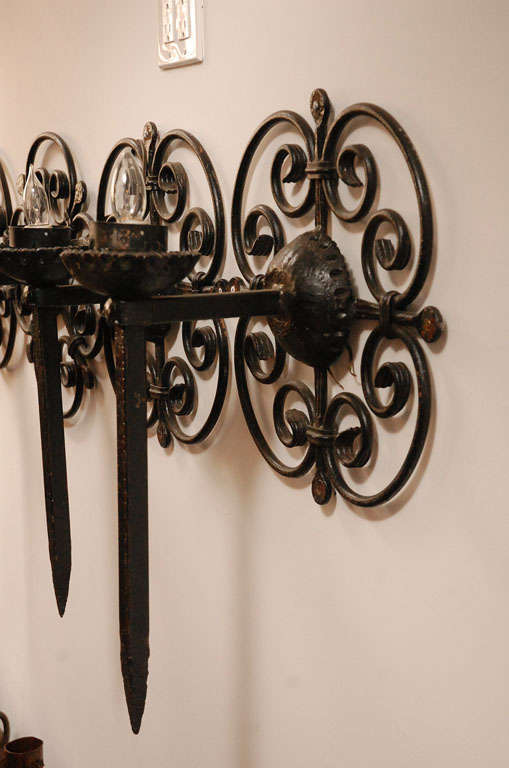 Moorish Spanish Style Wrought Iron Wall Sconces at 1stdibs