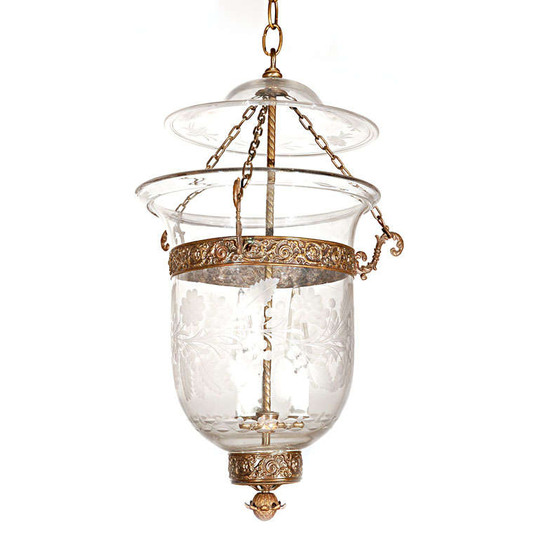 Antique Clear Glass Bell Jar Hall Lantern For