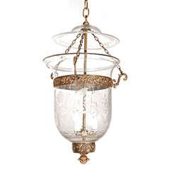 Antique Clear Glass Bell Jar Hall Lantern