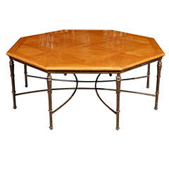French Octagonal Coffee table with cast iron base