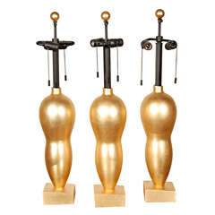 Set of 3 John Hutton For Donghia Goldleaf Table Lamps