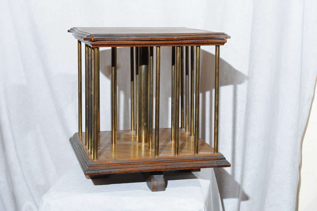 Mini oak revolving bookcase at 1stdibs for Revolving end table
