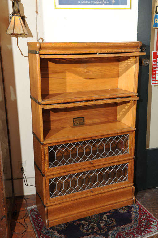 Four Section Oak Lawyer S Bookcase With Leaded Glass Doors