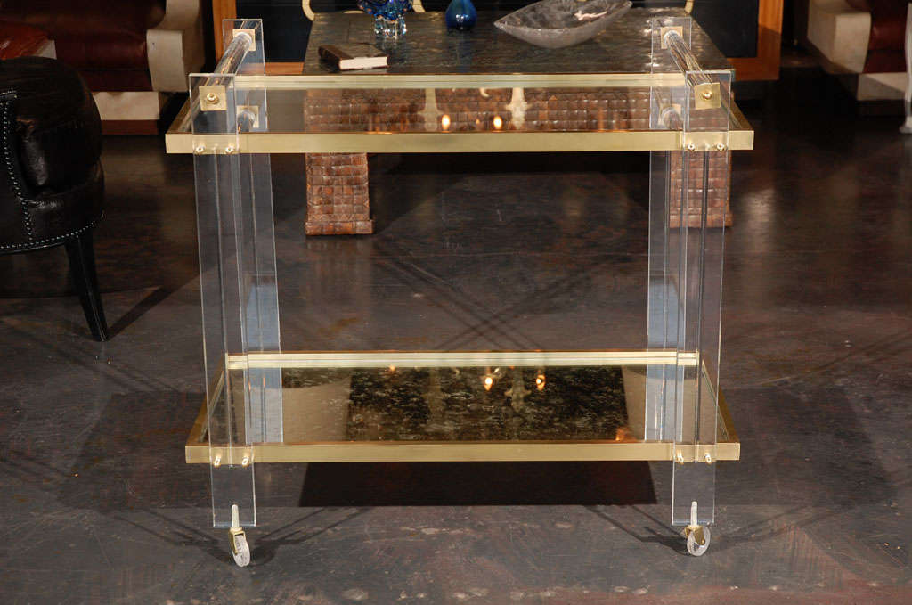 Lucite and Brass Tea Cart attributed to Karl Springer 6