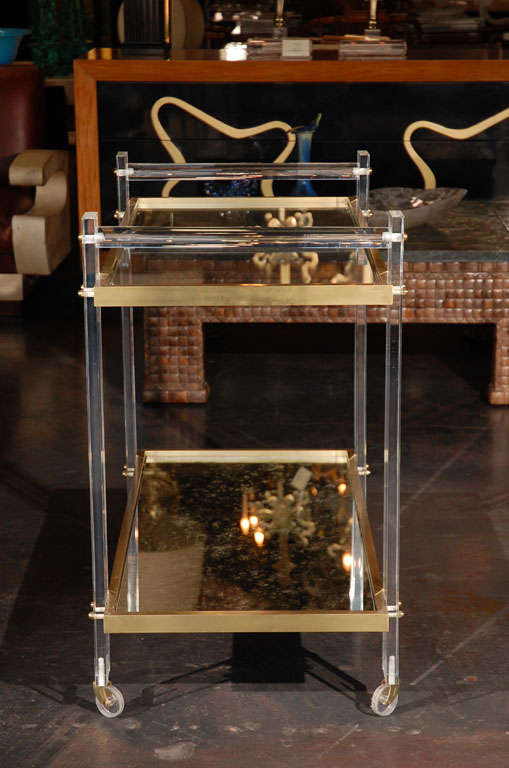 Lucite and Brass Tea Cart attributed to Karl Springer 8