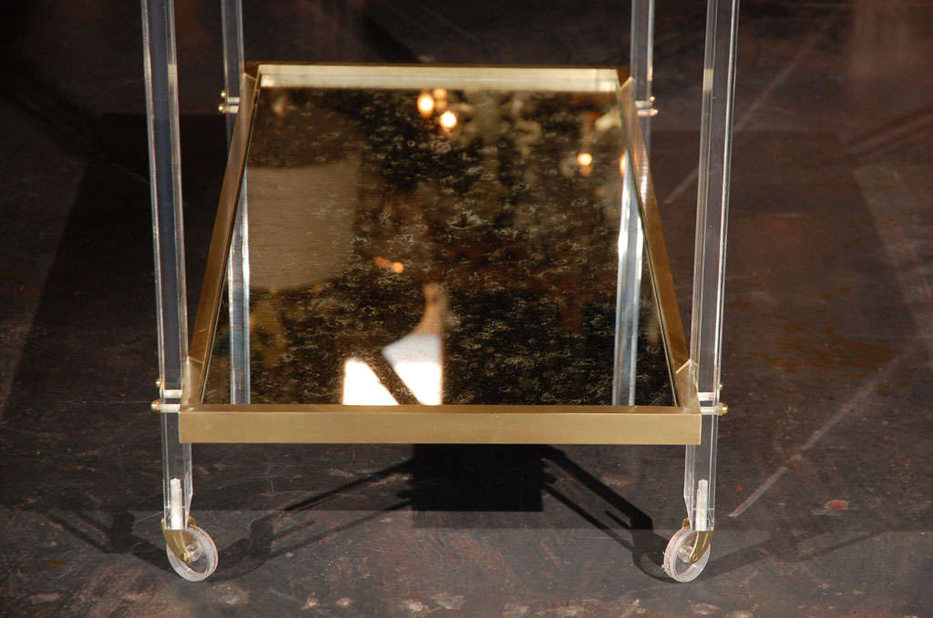 Lucite and Brass Tea Cart attributed to Karl Springer 9