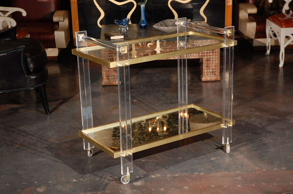 Lucite and Brass Tea Cart attributed to Karl Springer 2