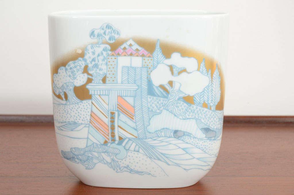 Rosenthal, Vase Germany Porcelain Mid Century 1970s Asian Inspired  For Sale 4