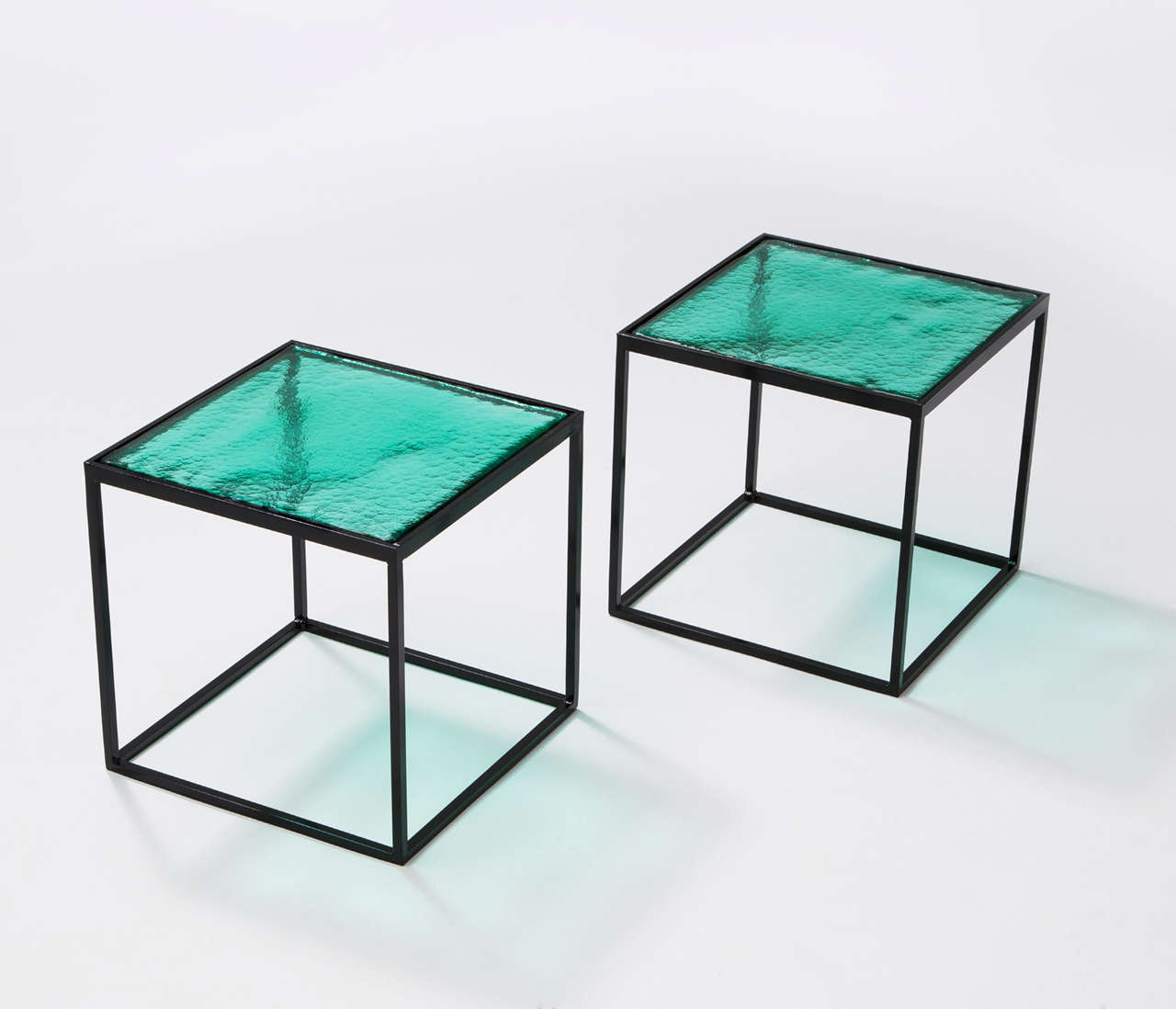 Multiple Green Coloured Glass Side Tables With Metal Box Frame For Sale At 1stdibs