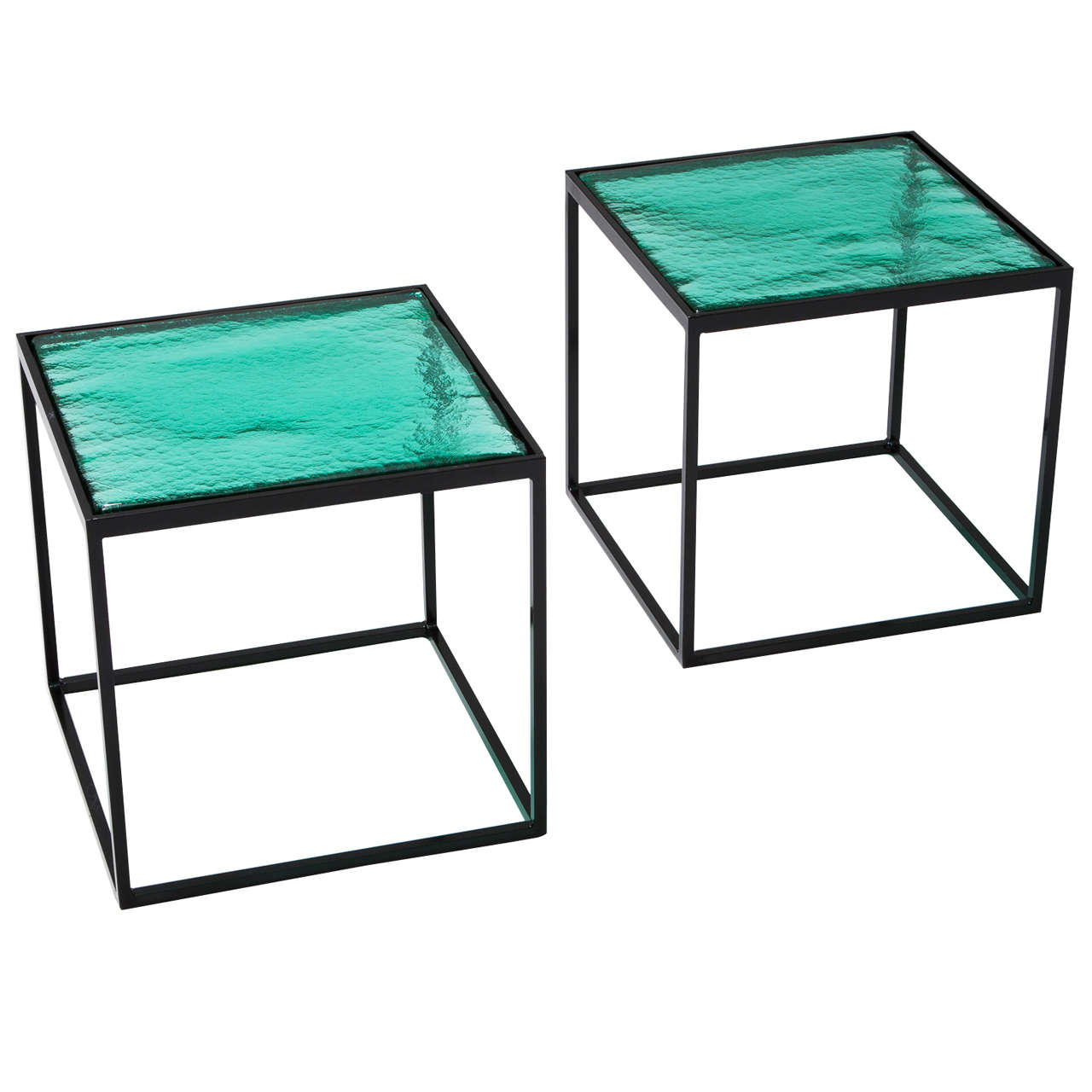 Multiple Green Coloured Gl Side Tables With Metal Box Frame