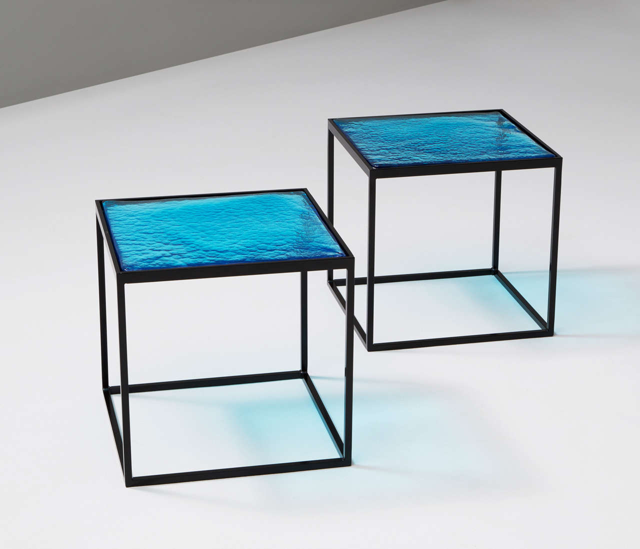 Mid Century Modern Multiple Blue Coloured Glass Side Tables With Metal