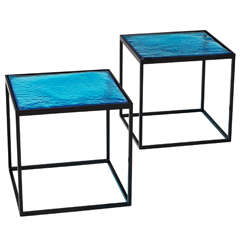 """Multiple Blue Coloured Glass Side Tables with Metal """"Box"""" Frame"""