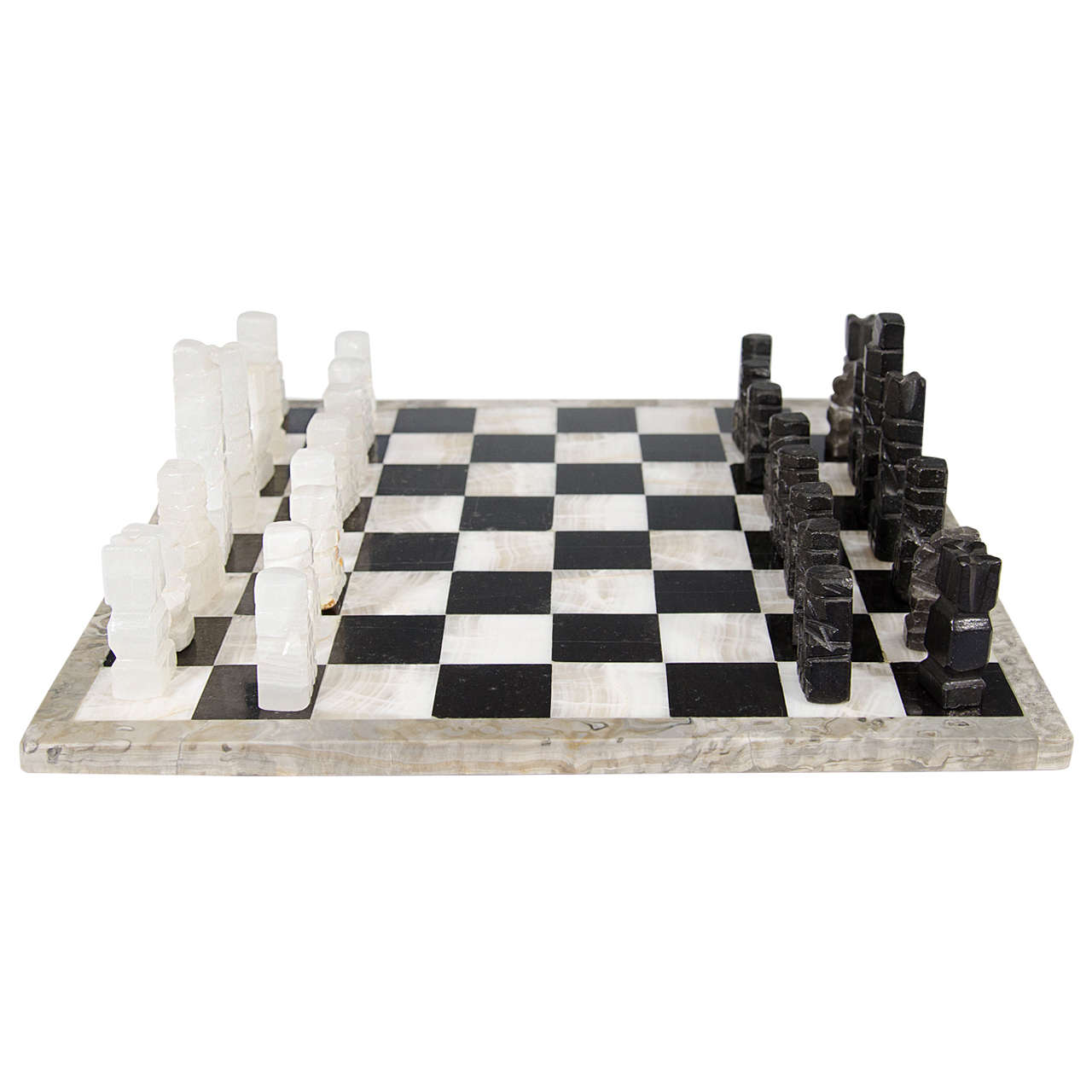 Midcentury Marble Chess Set Game Board With Onyx Pieces At
