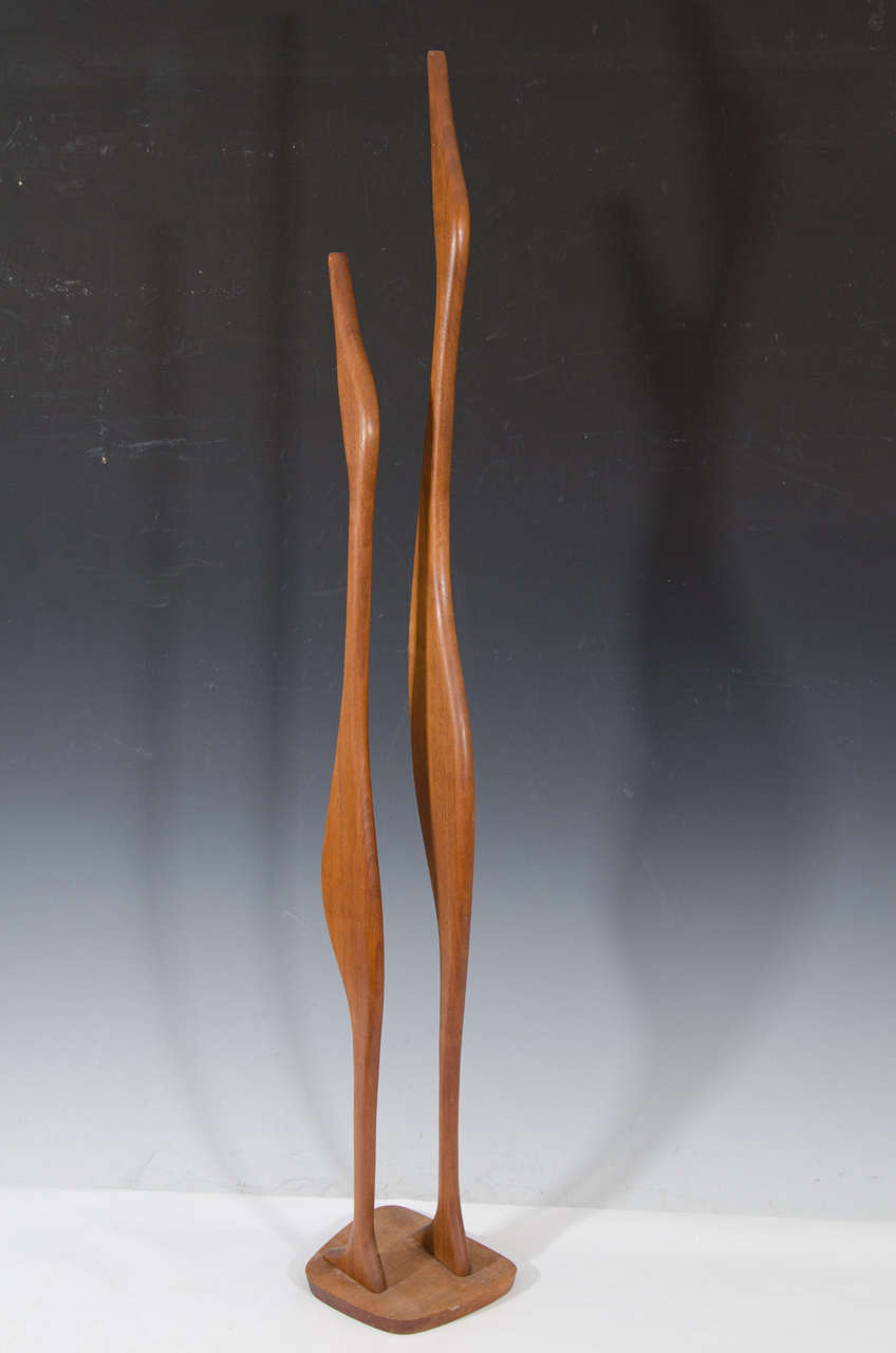 Danish Modern Wooden Sculpture of Birds 8