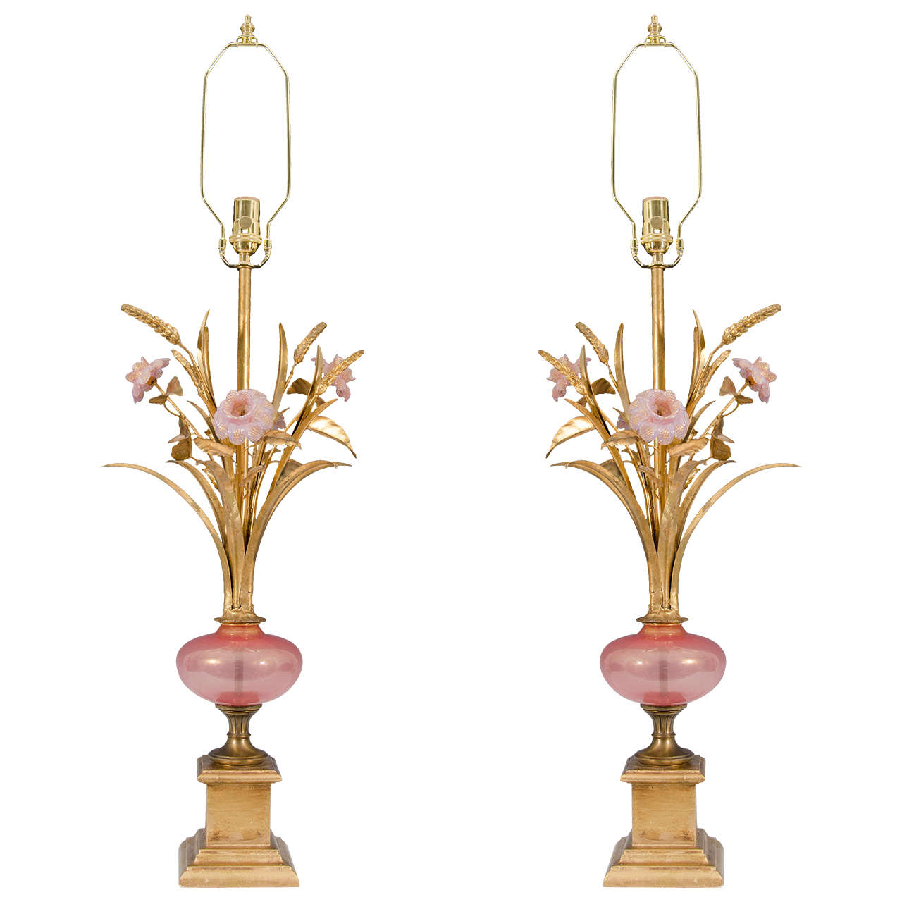 Midcentury Pair of Murano Glass Table Lamps with Pink Flowers at