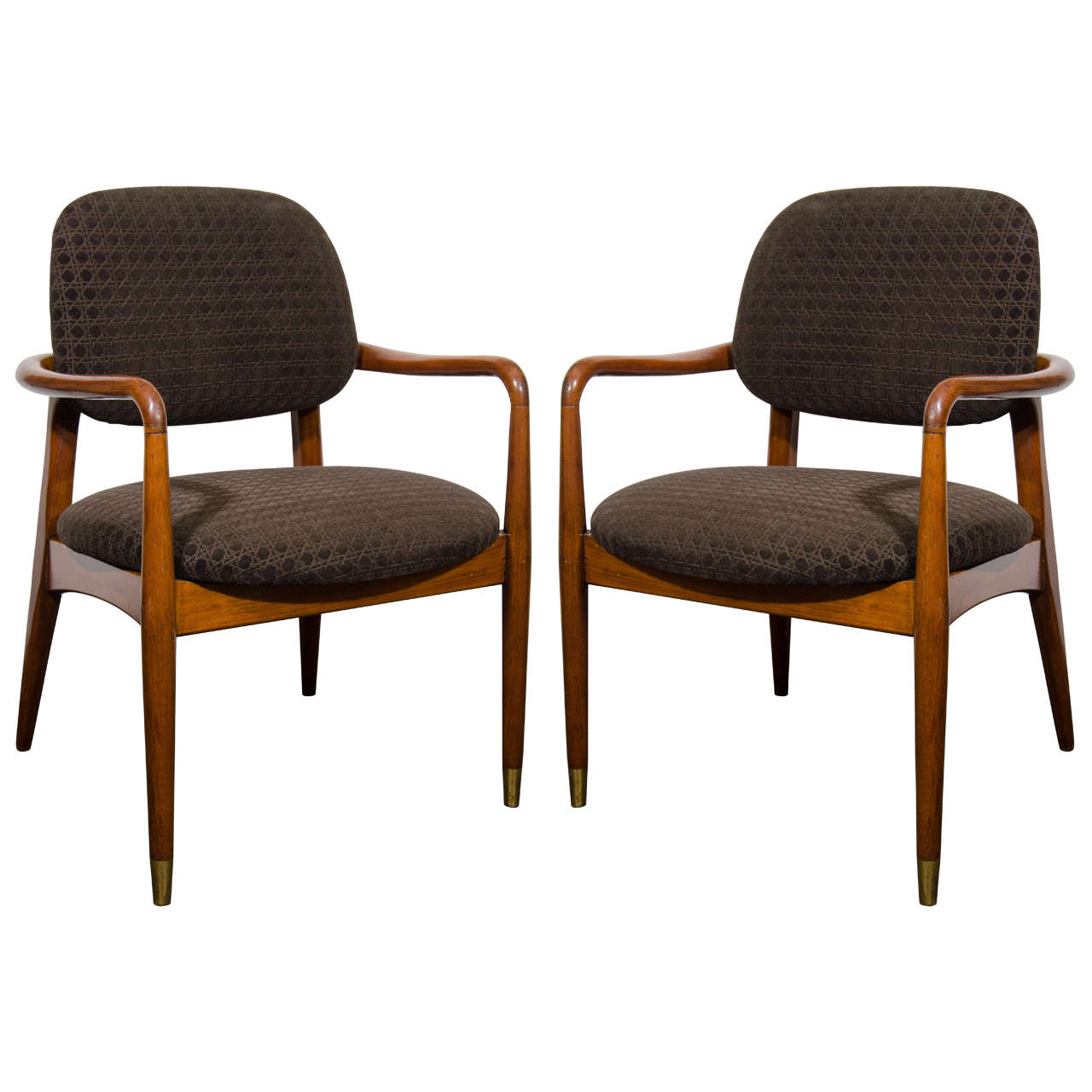 Midcentury Pair of Rosewood Open Armchairs with Tapered Legs