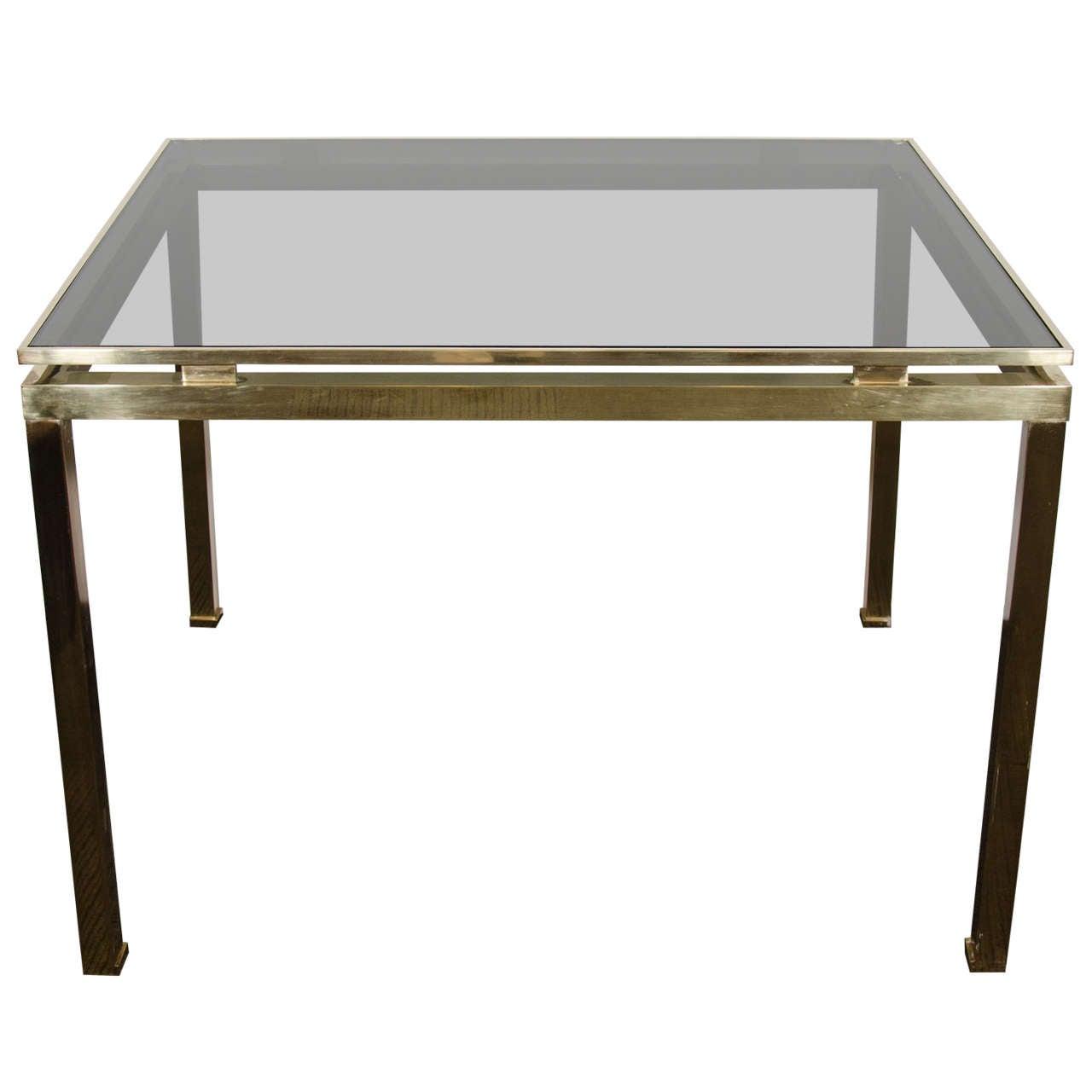 Midcentury Guy Lefevre for Maison Jansen, Brass and Glass Table or Desk