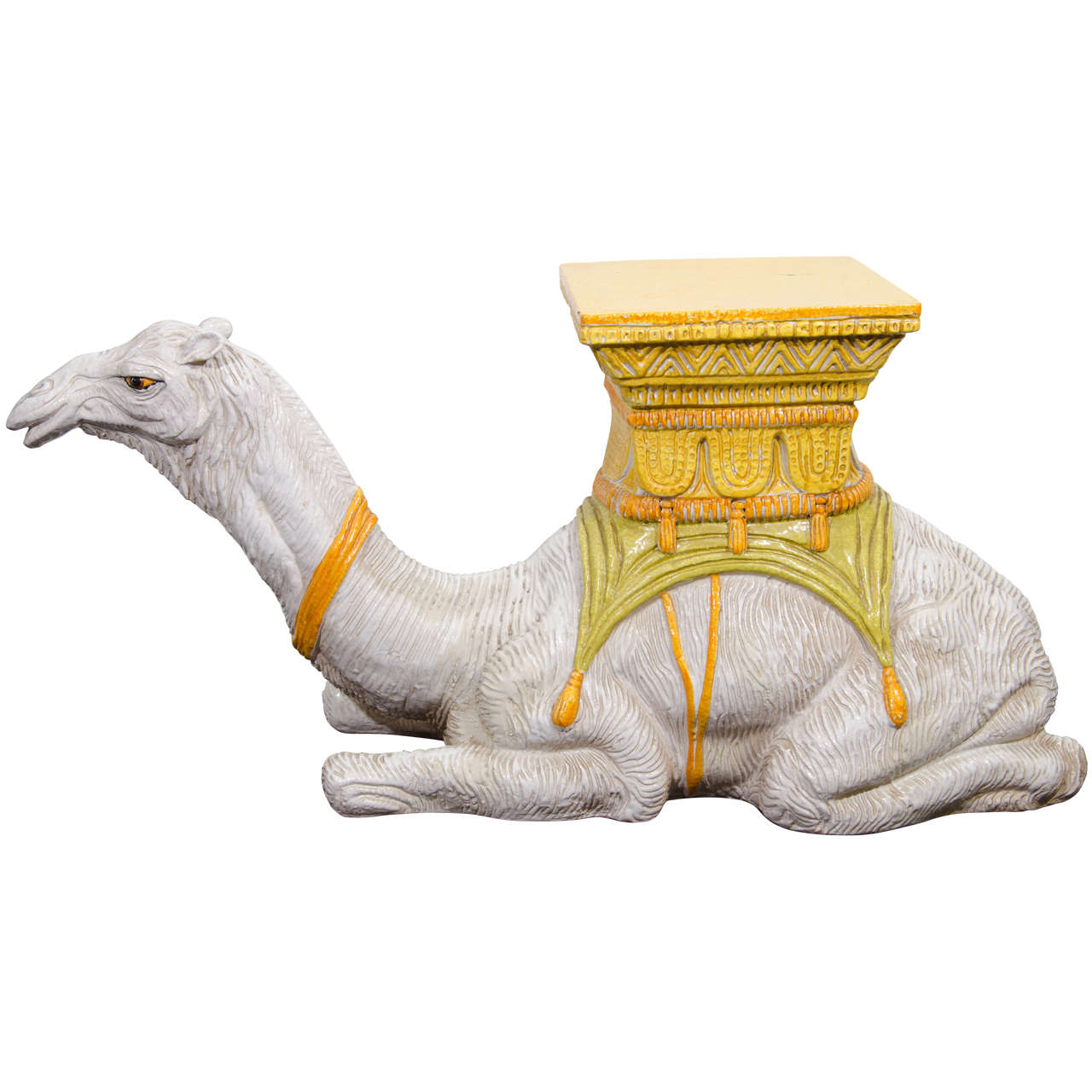 Midcentury Highly Decorative Italian Ceramic Camel Form Garden Seat For Sale