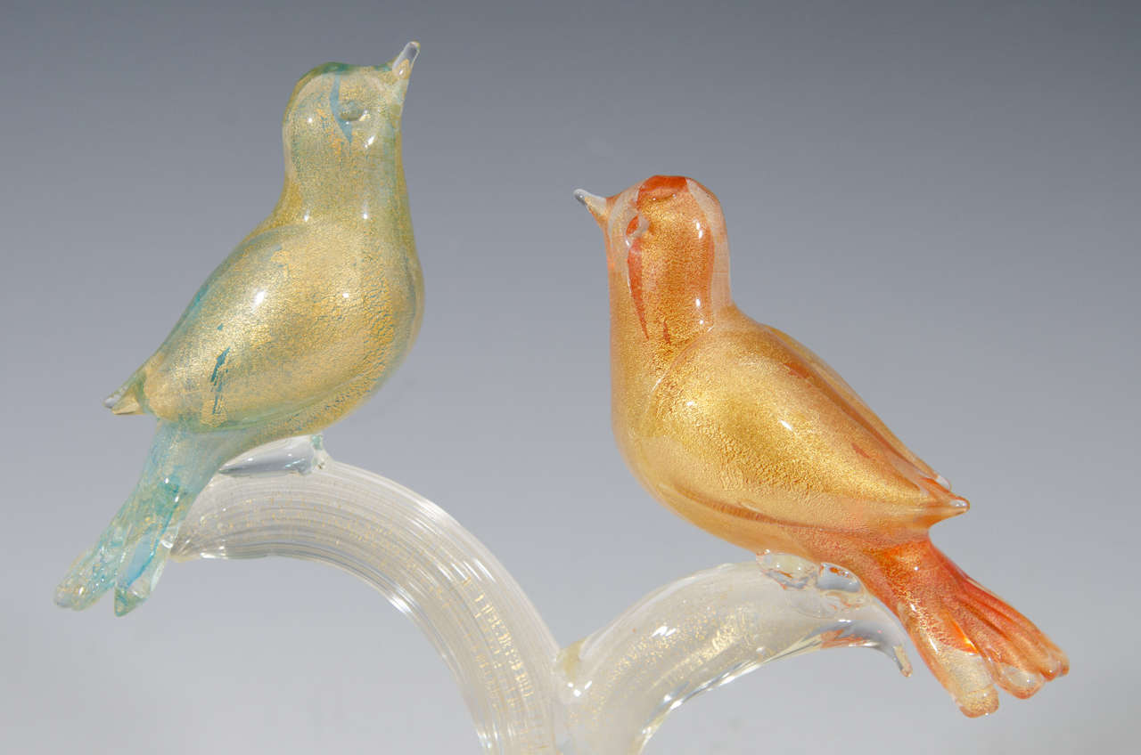 Mid-Century Modern Midcentury Formia Murano Glass Sculpture of Birds For Sale