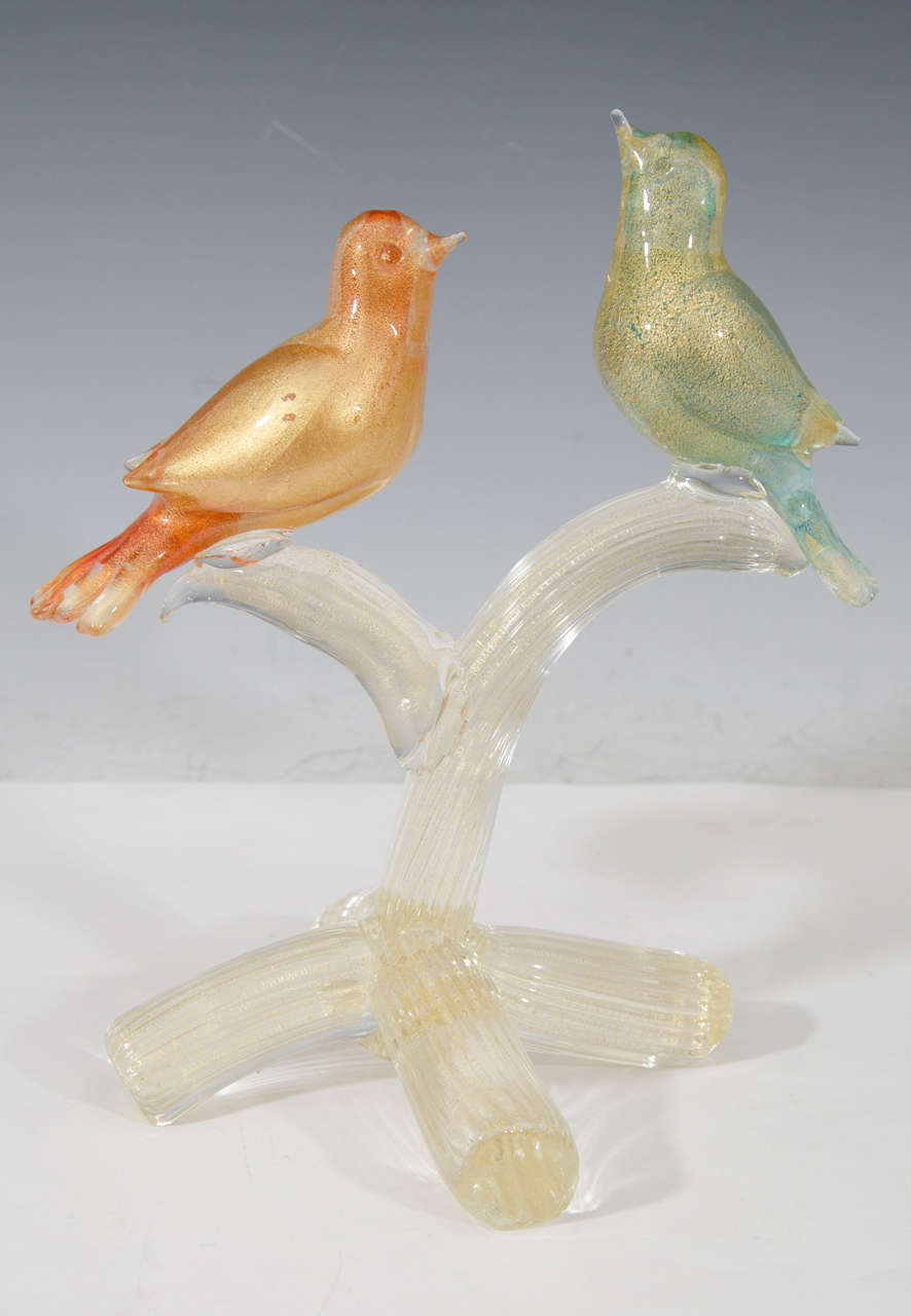 20th Century Midcentury Formia Murano Glass Sculpture of Birds For Sale