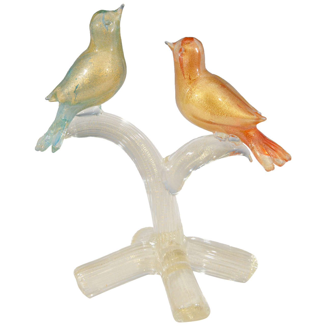 Midcentury Formia Murano Glass Sculpture of Birds For Sale