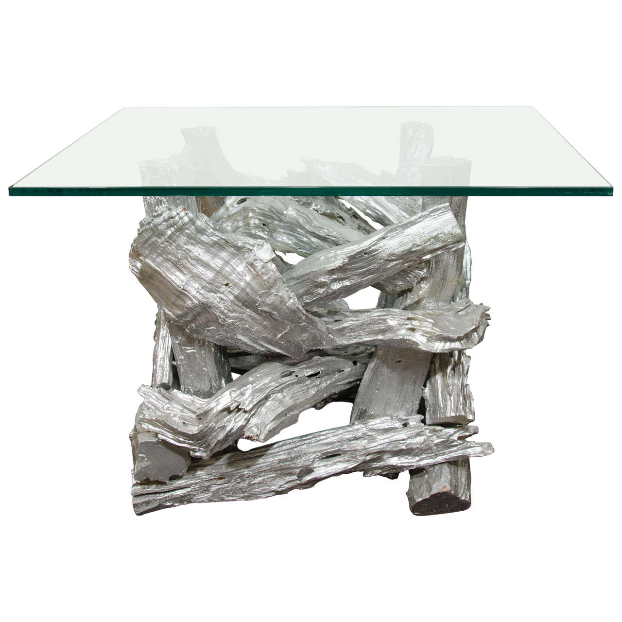 Midcentury Silver Resin Driftwood Table For Sale At 1stdibs