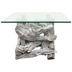 Midcentury Silver Resin Driftwood Table