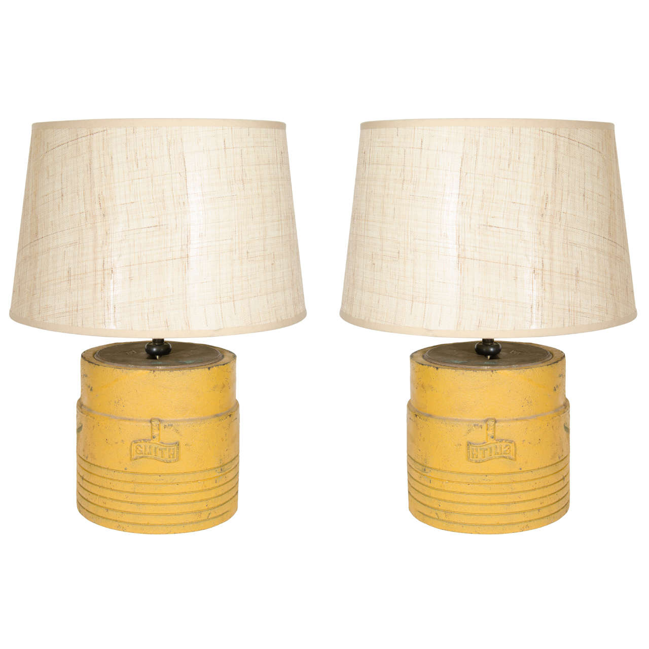 Industrial pair of cast iron table lamps made from oil well industrial pair of cast iron table lamps made from oil well drilling sleeves 1 geotapseo Choice Image