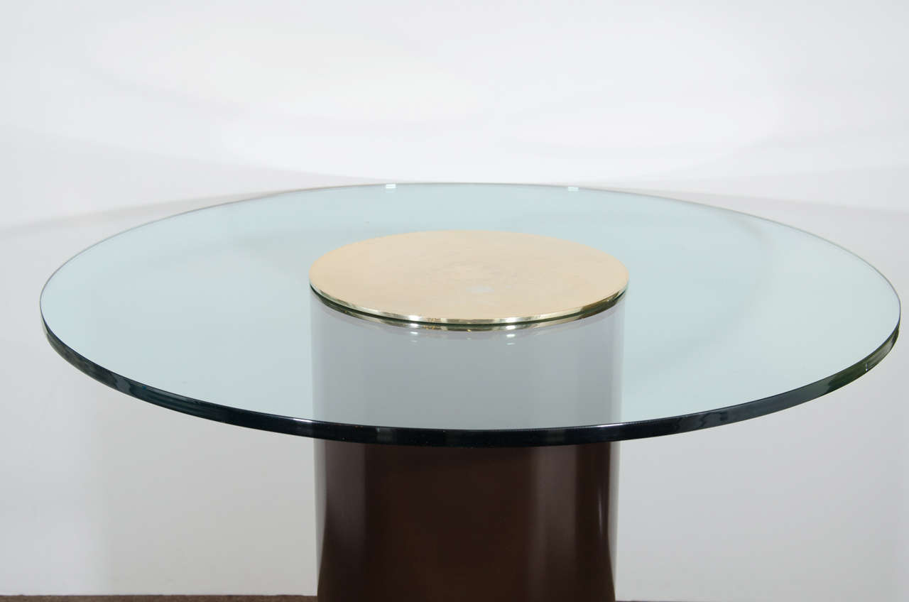Midcentury Glass Top Table With Cylindrical Column And Brass Pedestal Base 3