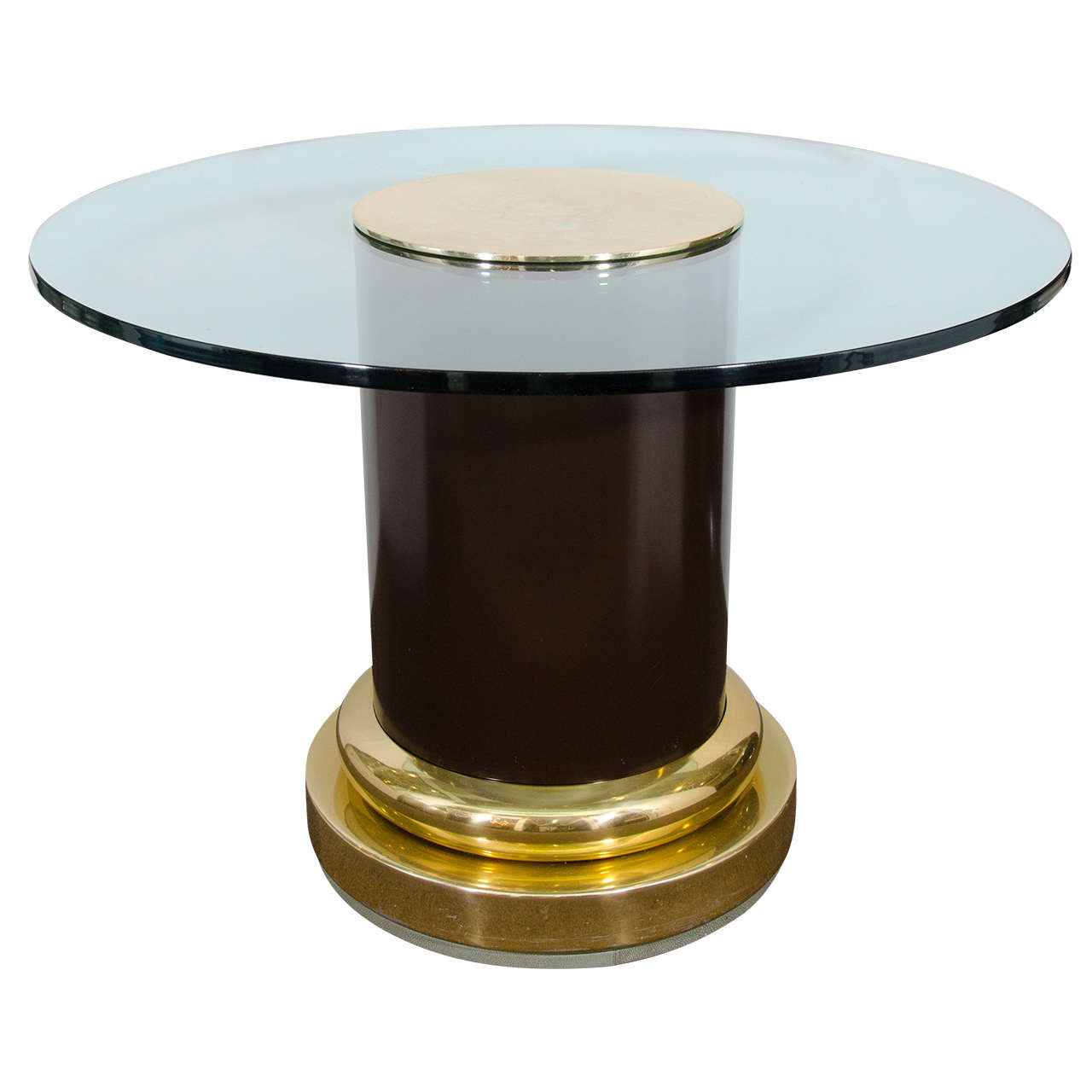 Noguchi Cyclone Table Midcentury Glass Top Table with Cylindrical Column and Brass Pedestal ...