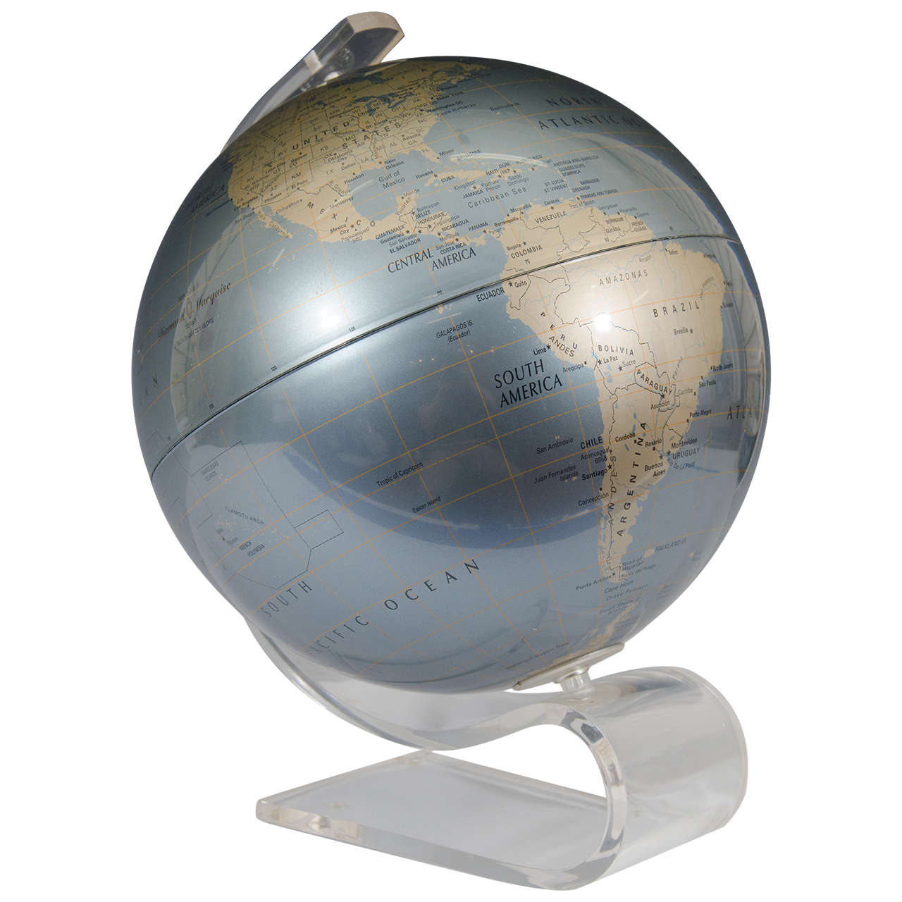A Vintage 1970 S World Globe On Lucite Base By Replogle For