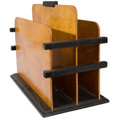 Art Deco Wooden Magazine Rack with Black Accents