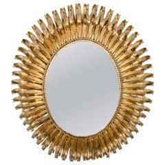 Hollywood Regency Style Oval Gilt Metal Wall Mirror
