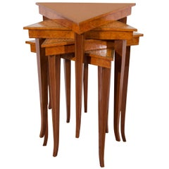 20th Century Set of Venetian Satinwood Stacking Tables with Intarsia Pattern