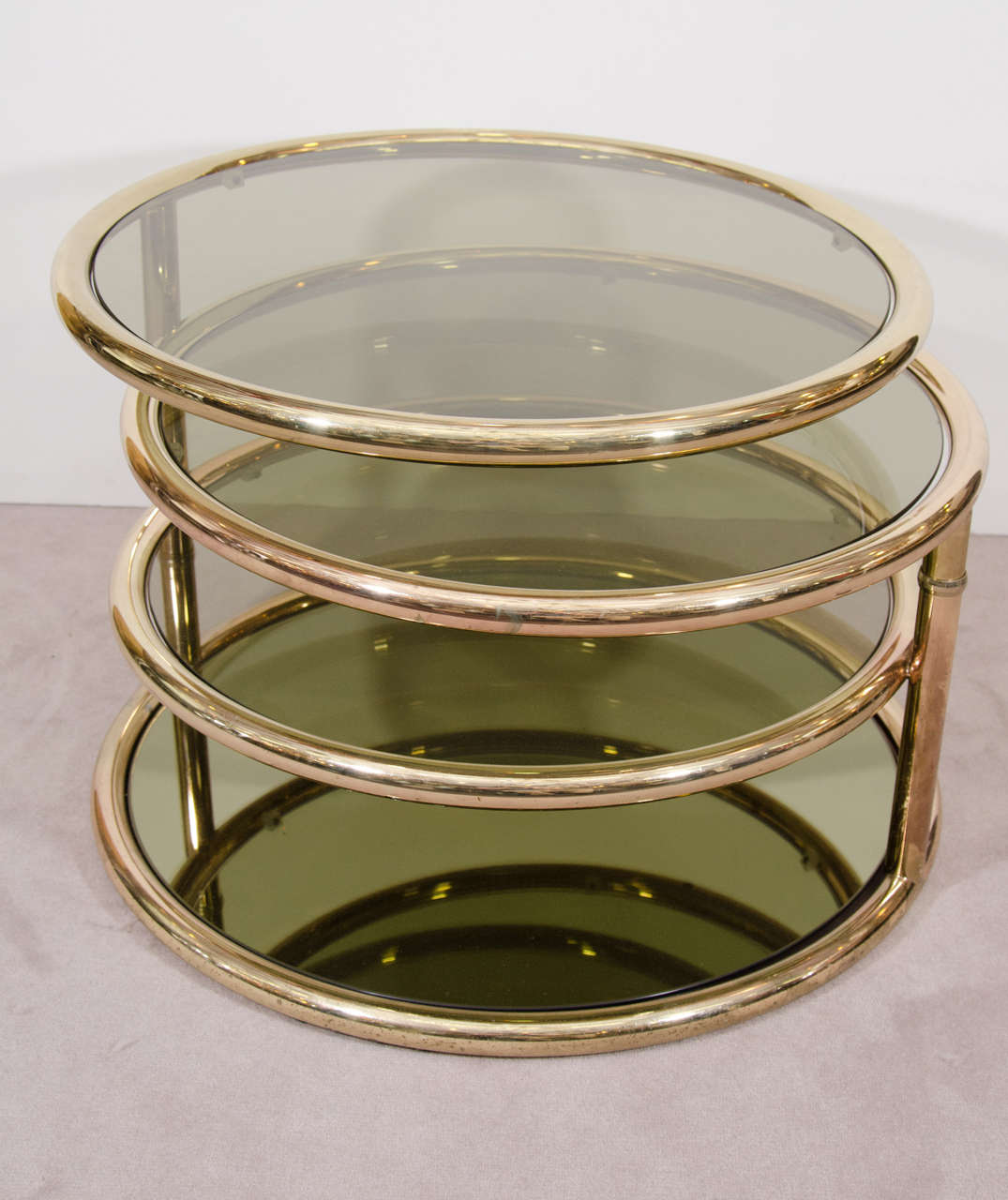 Charmant A Vintage Milo Baughman Style Three Tier Brass And Smoked Glass Coffee Table  Or Cocktail