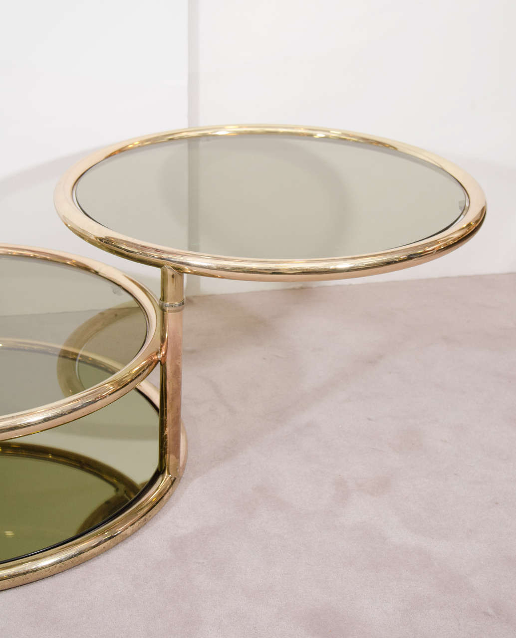 Midcentury Milo Baughman Style Brass Swivel Coffee Or Cocktail Table At 1stdibs