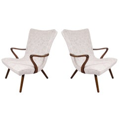 Pair of Scandinavian Modern High Back Winged Armchairs